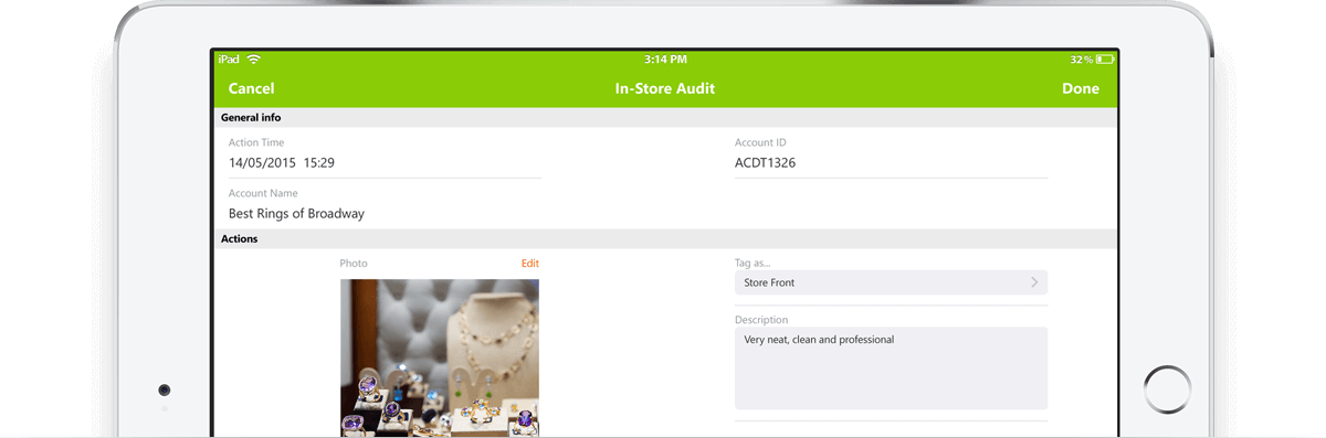 In-store retail audits with mobile merchandising software