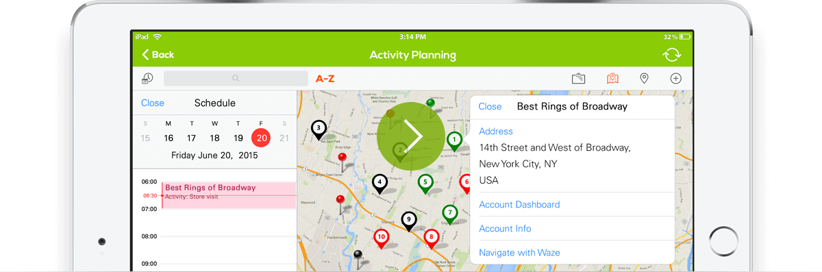 Mobile Route and activity planning with mobile merchandising software