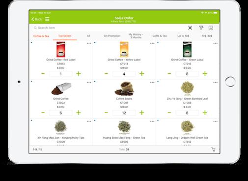 tablet showing b2b food mobile order taking