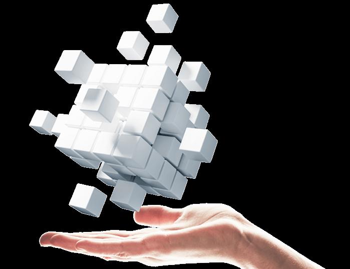 hand holding floating white cubes for omnichannel platform